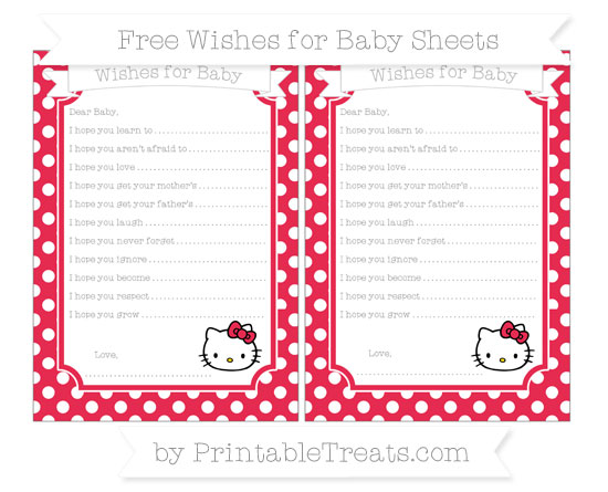 Free Amaranth Pink Polka Dot Hello Kitty Wishes for Baby Sheets