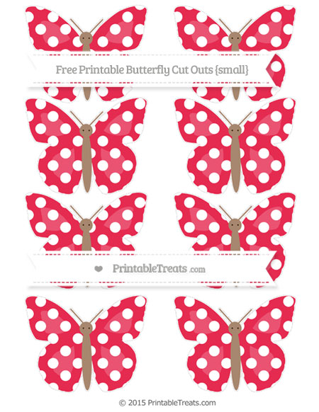 Free Amaranth Pink Polka Dot Small Butterfly Cut Outs