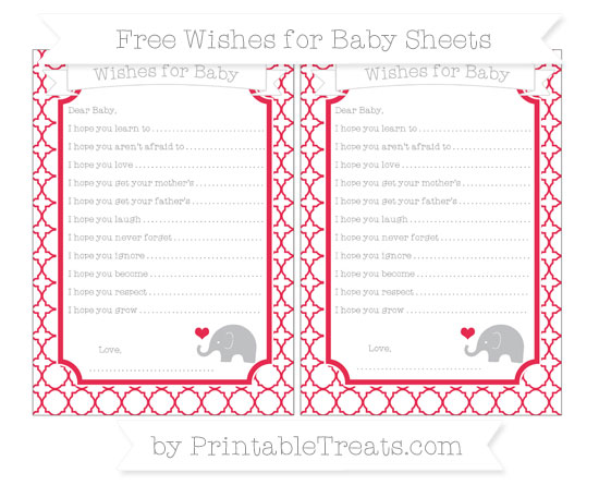 Free Amaranth Pink Quatrefoil Pattern Baby Elephant Wishes for Baby Sheets