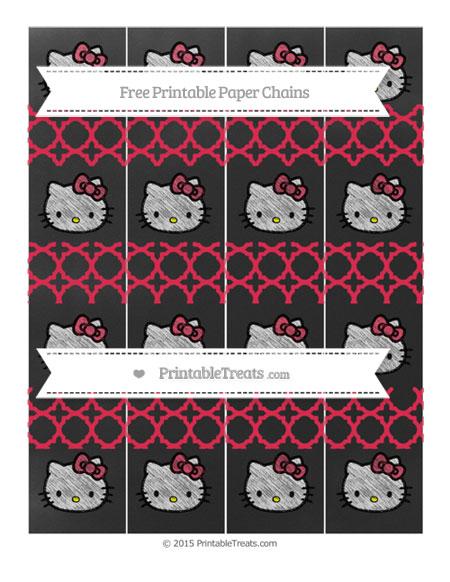 Free Amaranth Pink Quatrefoil Pattern Chalk Style Hello Kitty Paper Chains