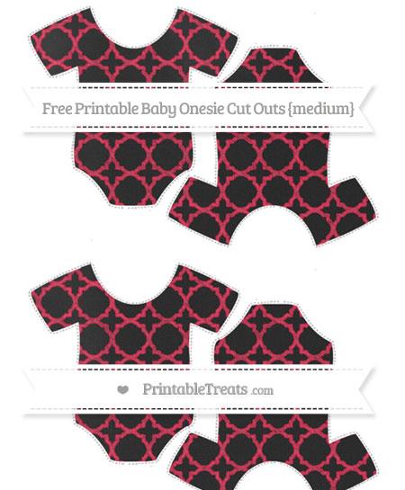 Free Amaranth Pink Quatrefoil Pattern Chalk Style Medium Baby Onesie Cut Outs