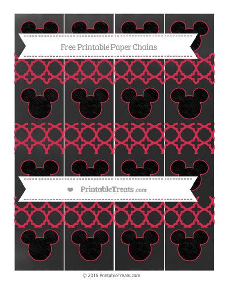 Free Amaranth Pink Quatrefoil Pattern Chalk Style Mickey Mouse Paper Chains