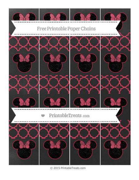 Free Amaranth Pink Quatrefoil Pattern Chalk Style Minnie Mouse Paper Chains