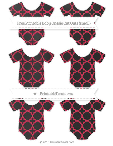 Free Amaranth Pink Quatrefoil Pattern Chalk Style Small Baby Onesie Cut Outs