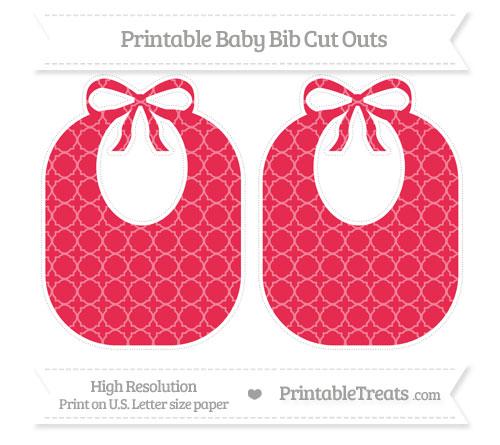 Free Amaranth Pink Quatrefoil Pattern Large Baby Bib Cut Outs