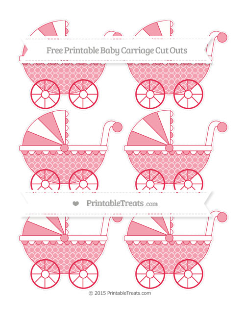 Free Amaranth Pink Quatrefoil Pattern Small Baby Carriage Cut Outs