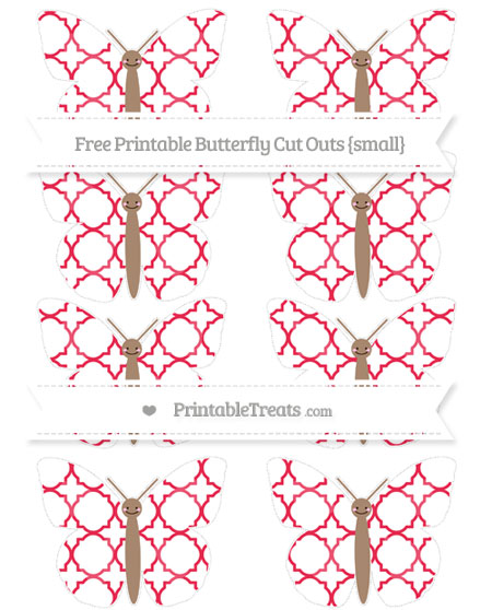 Free Amaranth Pink Quatrefoil Pattern Small Smiley Butterfly Cut Outs