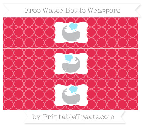 Free Amaranth Pink Quatrefoil Pattern Whale Water Bottle Wrappers