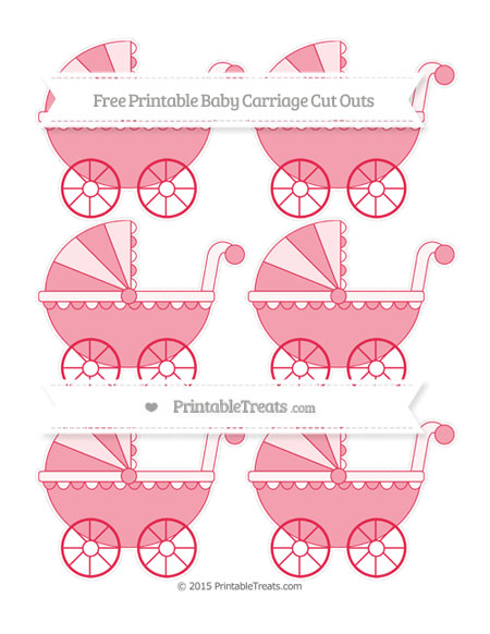 Free Amaranth Pink Small Baby Carriage Cut Outs
