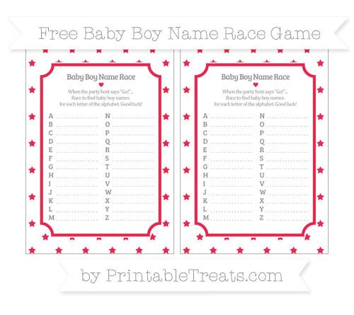 Free Amaranth Pink Star Pattern Baby Boy Name Race Game