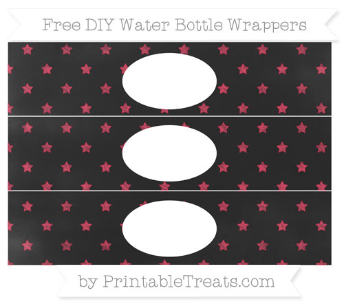 Free Amaranth Pink Star Pattern Chalk Style DIY Water Bottle Wrappers