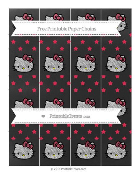 Free Amaranth Pink Star Pattern Chalk Style Hello Kitty Paper Chains