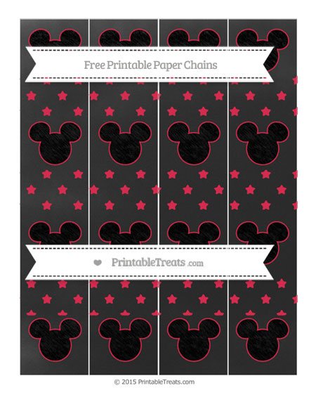 Free Amaranth Pink Star Pattern Chalk Style Mickey Mouse Paper Chains