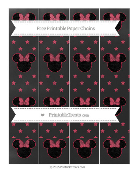 Free Amaranth Pink Star Pattern Chalk Style Minnie Mouse Paper Chains