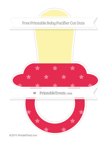 Free Amaranth Pink Star Pattern Extra Large Baby Pacifier Cut Outs