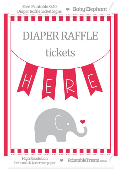 Free Amaranth Pink Striped Baby Elephant 8x10 Diaper Raffle Ticket Sign