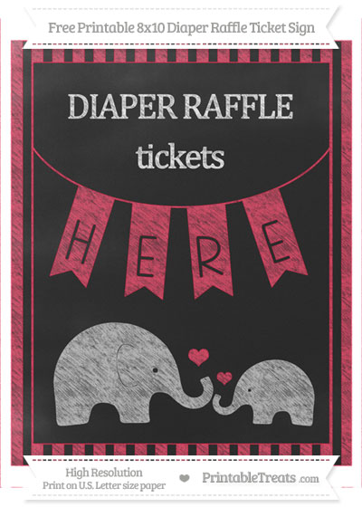 Free Amaranth Pink Striped Chalk Style Elephant 8x10 Diaper Raffle Ticket Sign