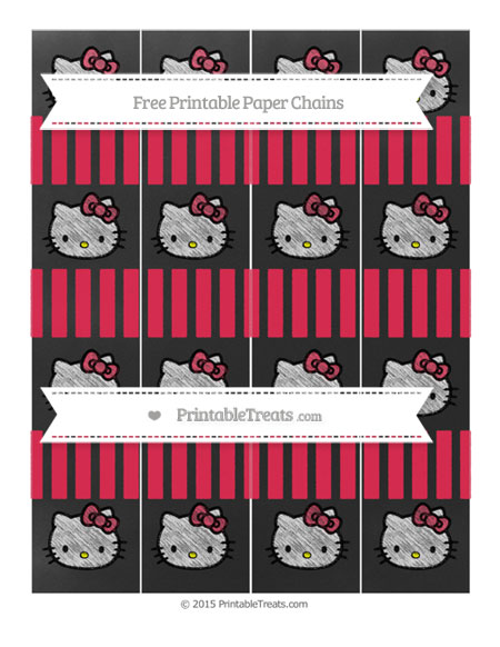Free Amaranth Pink Striped Chalk Style Hello Kitty Paper Chains