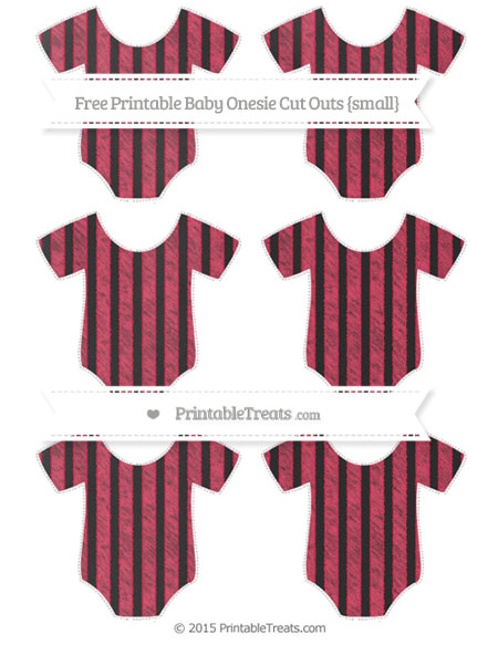 Free Amaranth Pink Striped Chalk Style Small Baby Onesie Cut Outs