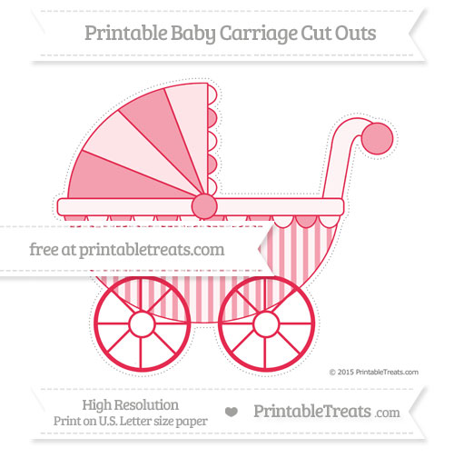 Free Amaranth Pink Striped Extra Large Baby Carriage Cut Outs