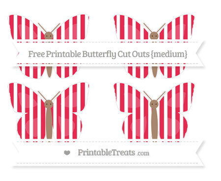 Free Amaranth Pink Striped Medium Butterfly Cut Outs