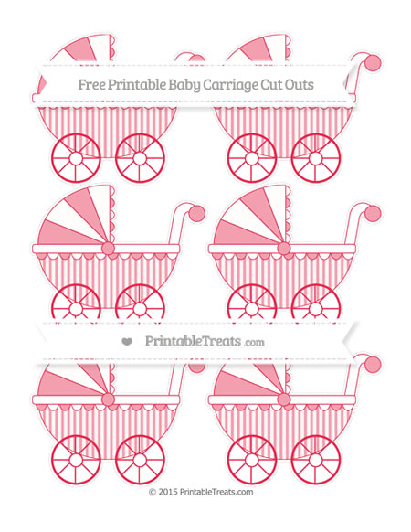 Free Amaranth Pink Striped Small Baby Carriage Cut Outs