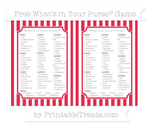 Free Amaranth Pink Striped What's in Your Purse Baby Shower Game