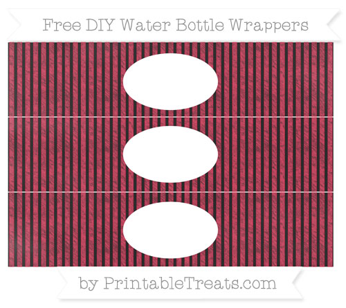 Free Amaranth Pink Thin Striped Pattern Chalk Style DIY Water Bottle Wrappers