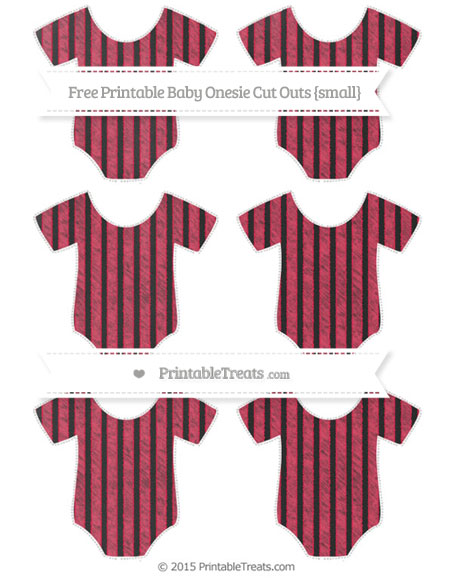 Free Amaranth Pink Thin Striped Pattern Chalk Style Small Baby Onesie Cut Outs