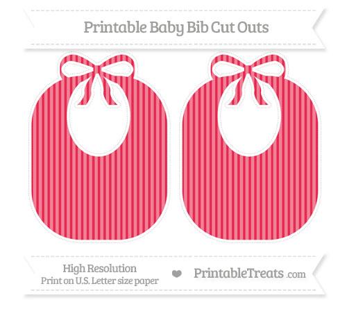 Free Amaranth Pink Thin Striped Pattern Large Baby Bib Cut Outs
