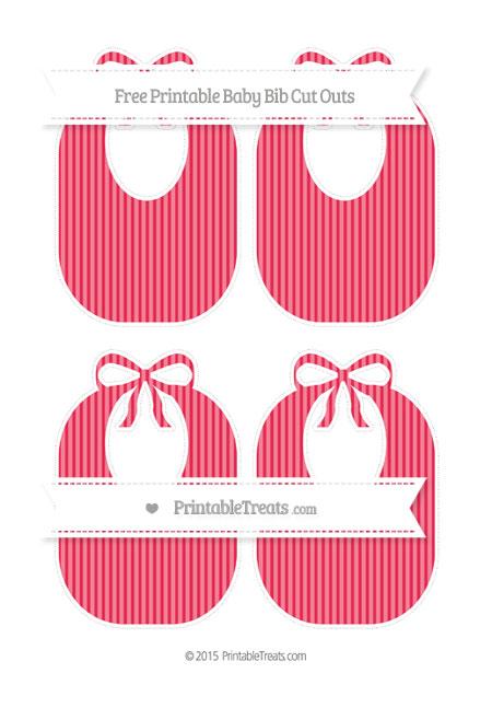 Free Amaranth Pink Thin Striped Pattern Medium Baby Bib Cut Outs