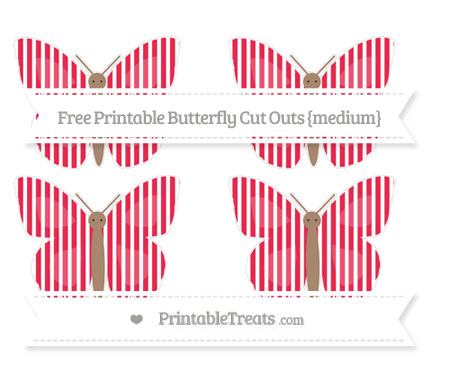 Free Amaranth Pink Thin Striped Pattern Medium Butterfly Cut Outs