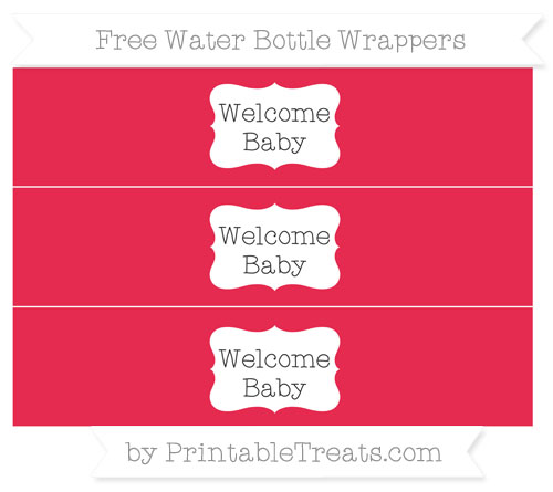 Free Amaranth Pink Welcome Baby Water Bottle Wrappers