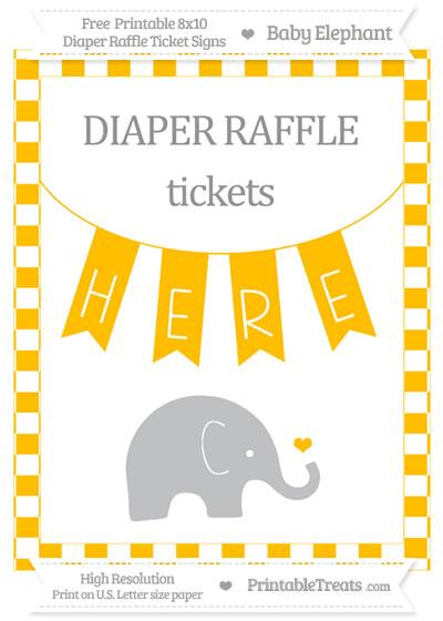 Free Amber Checker Pattern Baby Elephant 8x10 Diaper Raffle Ticket Sign