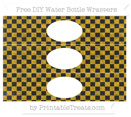 Free Amber Checker Pattern Chalk Style DIY Water Bottle Wrappers