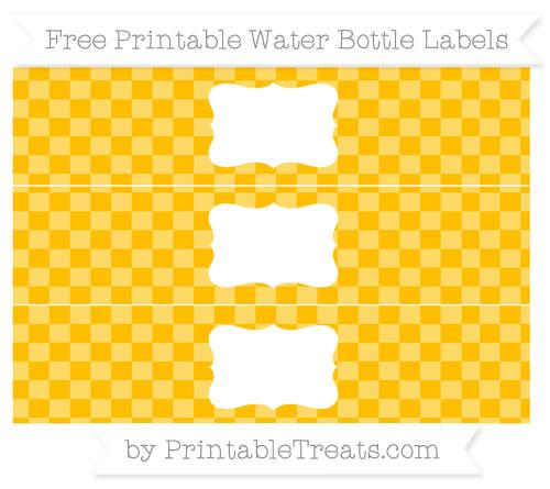 Free Amber Checker Pattern Water Bottle Labels