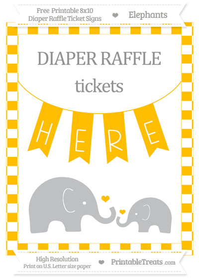 Free Amber Checker Pattern Elephant 8x10 Diaper Raffle Ticket Sign