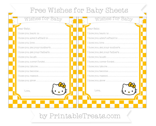 Free Amber Checker Pattern Hello Kitty Wishes for Baby Sheets