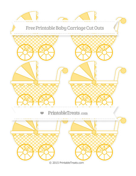 Free Amber Checker Pattern Small Baby Carriage Cut Outs
