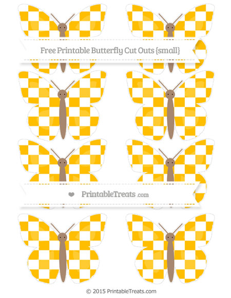 Free Amber Checker Pattern Small Butterfly Cut Outs