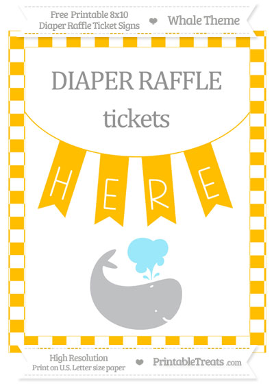 Free Amber Checker Pattern Whale 8x10 Diaper Raffle Ticket Sign