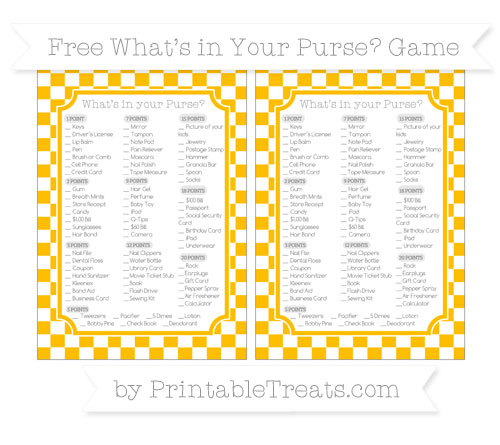 Free Amber Checker Pattern What's in Your Purse Baby Shower Game