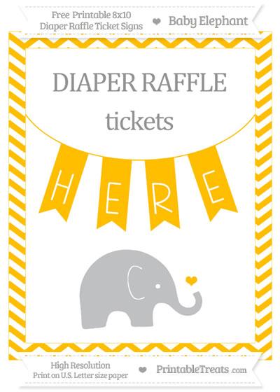 Free Amber Chevron Baby Elephant 8x10 Diaper Raffle Ticket Sign