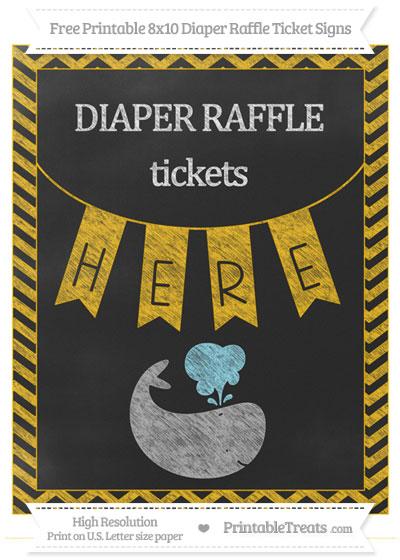 Free Amber Chevron Chalk Style Whale 8x10 Diaper Raffle Ticket Sign