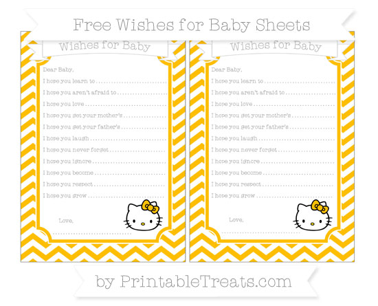 Free Amber Chevron Hello Kitty Wishes for Baby Sheets