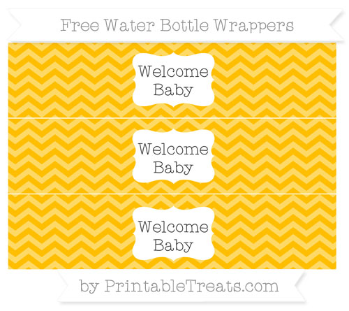Free Amber Chevron Welcome Baby Water Bottle Wrappers