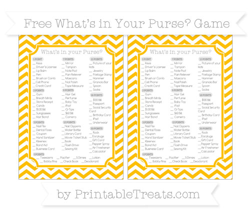 Free Amber Chevron What's in Your Purse Baby Shower Game
