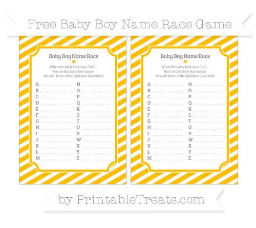 Free Amber Diagonal Striped Baby Boy Name Race Game