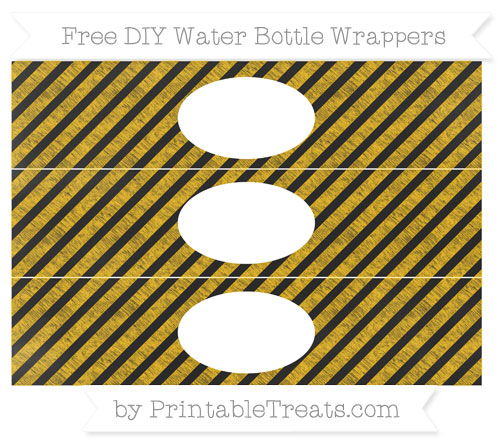 Free Amber Diagonal Striped Chalk Style DIY Water Bottle Wrappers