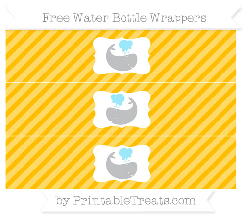 Free Amber Diagonal Striped Whale Water Bottle Wrappers
